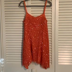 Free People Coral Sequin Flapper Dress